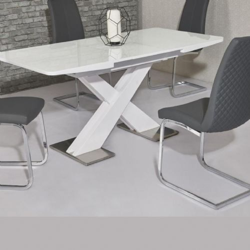 JP DT5506 Dining table140/180 cm White Gloss (Medium) & JP CH998 Grey Chairs From Jesse plana (2)